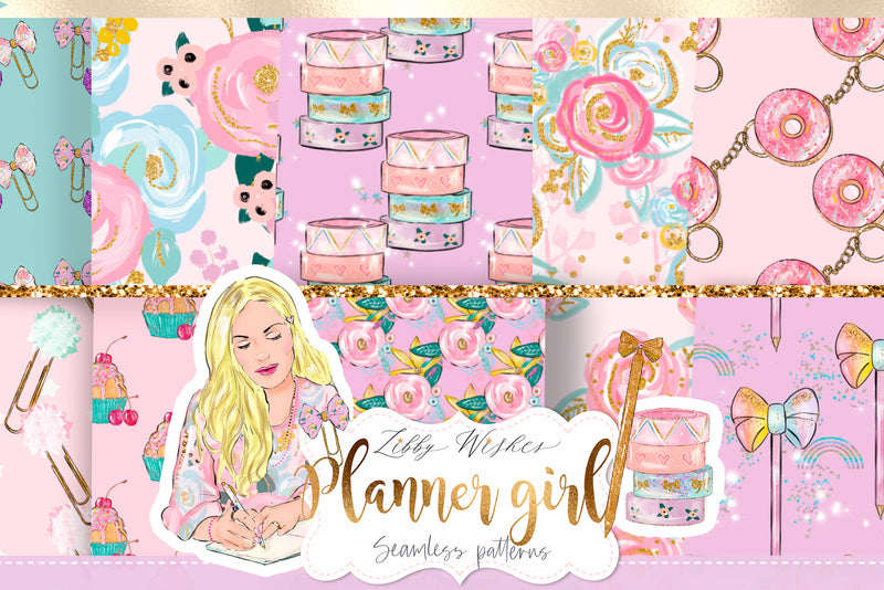 Planner girl digital seamless Paper set