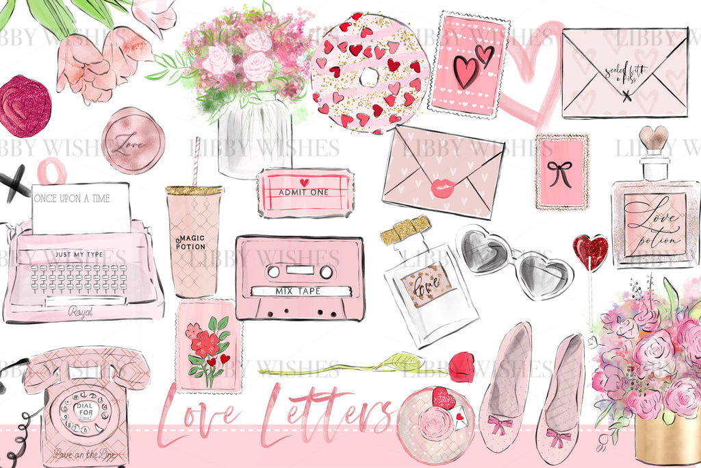 Love Letter Fashion Clipart set