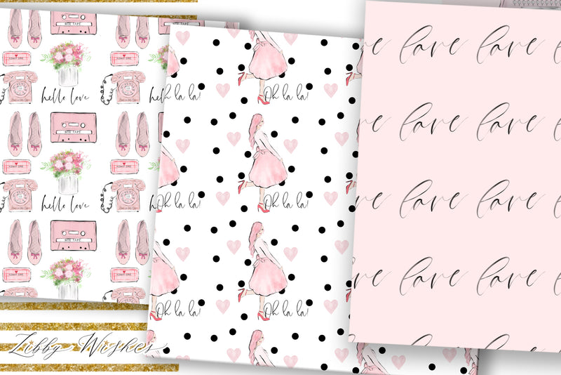 Love Letters digital Paper set
