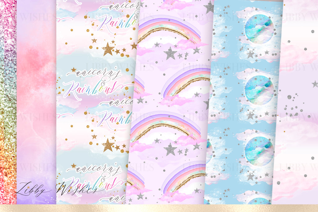 Unicorn princess dreams digital Paper set