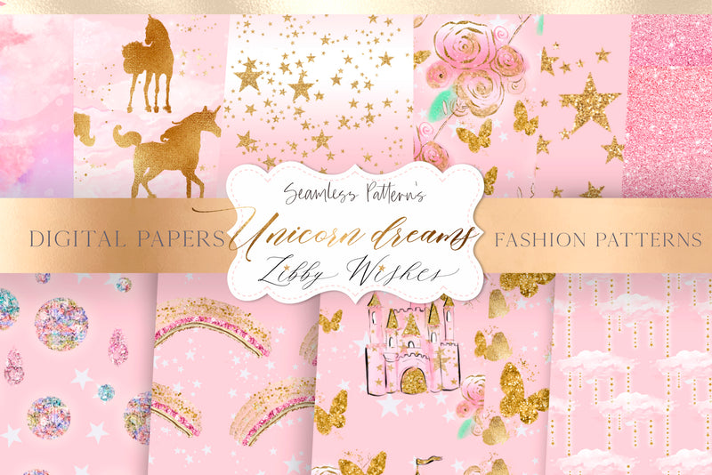 Pink  Unicorn princess dreams digital Paper set