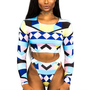 tribal print Long sleeve swimsuit