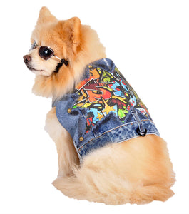 Graffiti Jeans Jacket - Dog Coat