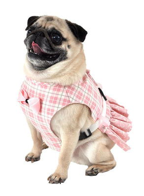 Dog Dress, Dog Harness - Pink Plaid Girl Dog Harness