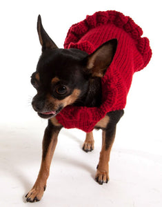 Pullover Dog Sweater Dress - Red