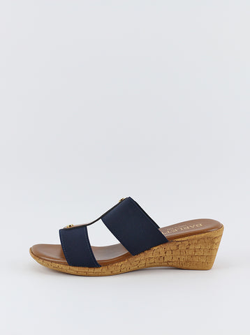 Lissa - Navy wedge sandal by Barletta