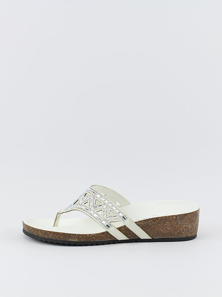 Ladies white jewelled sandal by ShoeLife