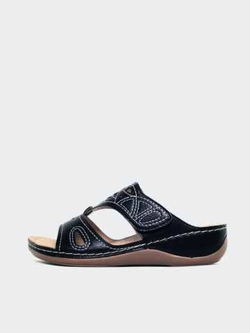 Marisa - Black Slide-On Comfort Sandal