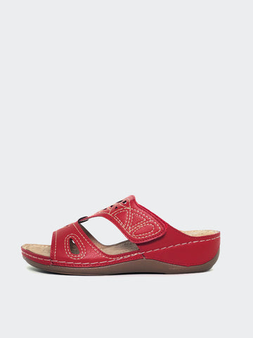 Marisa - Red Slide-On Comfort Sandal by Cherry
