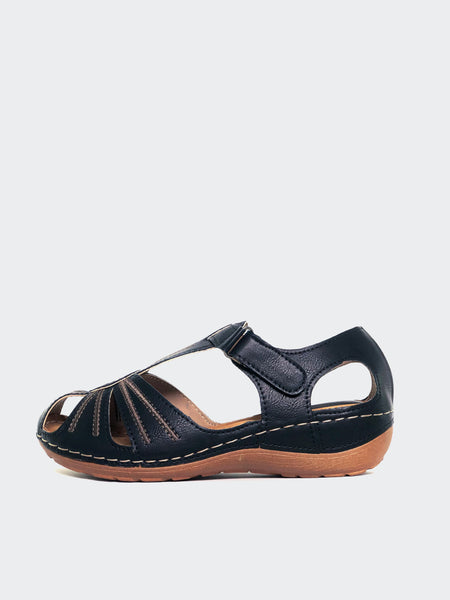 Mona - Black Comfortable Sandal by Cherry Shoes