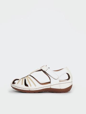 Mona - White Comfortable Sandal by Cherry Shoes
