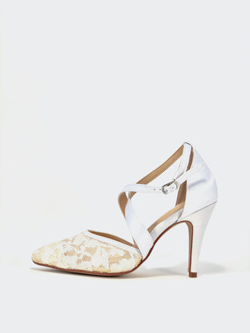 Dutchess White and Lace Evening Shoe by Clarice