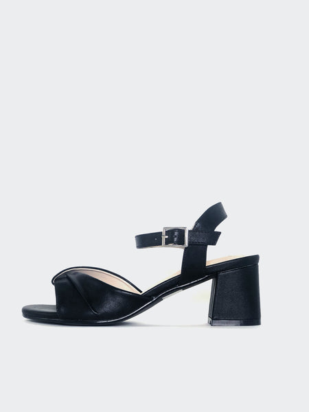 Elegant - Black Low Block Heel