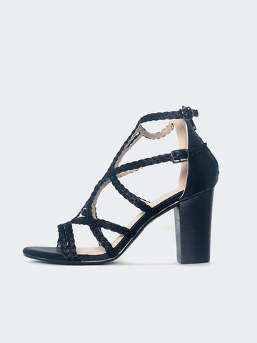 Sling - Black Satin Strappy Block Heel
