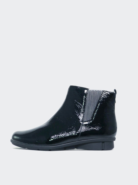 Instant - Black Patent Flat Ankle Boots by Inea