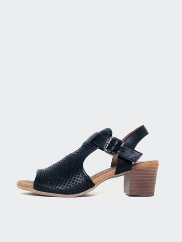 Lars - Black Block Heel Leather Sandal by Mago
