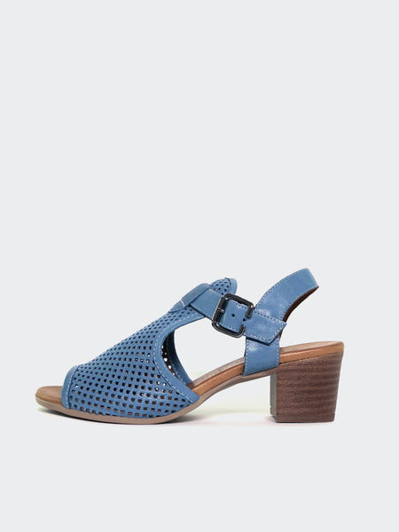 Lars - Blue Block Heel Leather Sandal by Mago