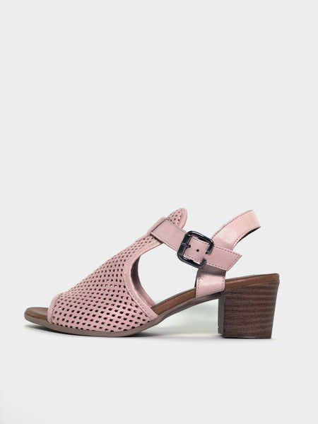 Lars - Pink Block Heel Leather Sandal by Mago
