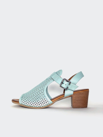 Lars - Mint Leather Block Heel Sandal by Mago