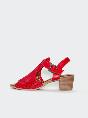 Lars - Red Block Heel Leather Sandal by Mago