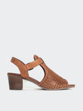 Lars - Tan Block Heel Leather Sandal by Mago