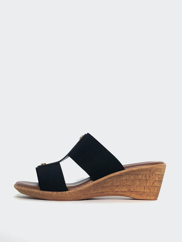 Lissa - Black Wedge Sandal by Barletta Shoes