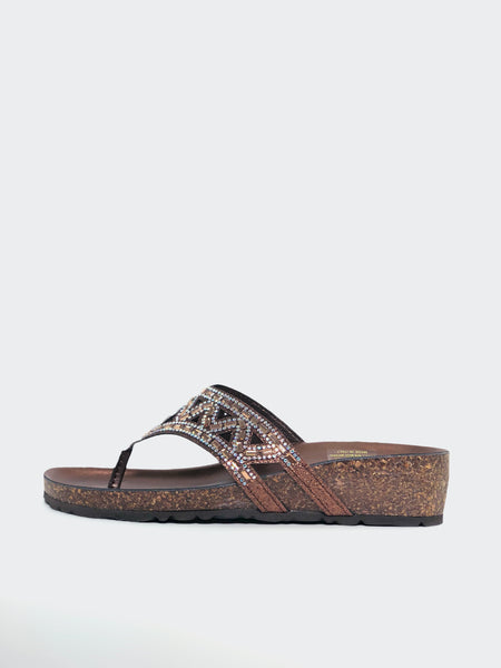 Lyn - Bronze Sparkly Dress Sandal by Barletta