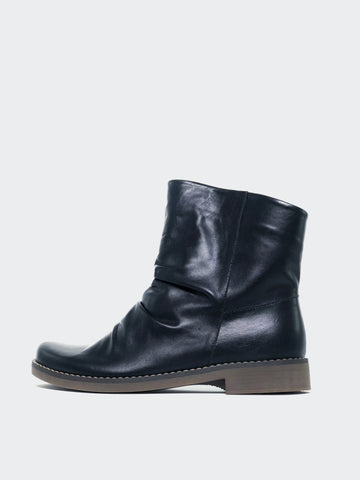 Marg - Black Leather Winter Flat Ankle Boot By Mago