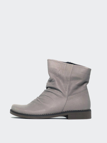 Marg - Taupe Leather Winter Flat Ankle Boot By Mago
