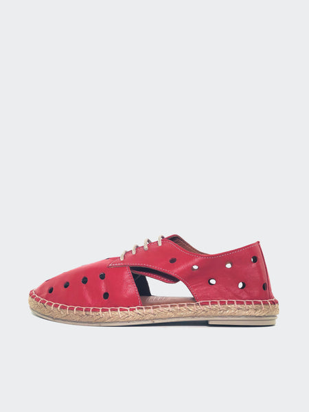 Mariella - Red Leather Lace Up Flats by Mago
