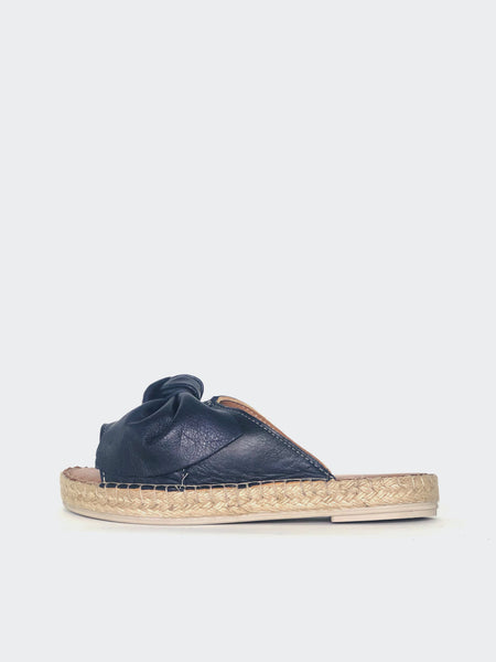 Raide - Navy Leather Slide By Mago