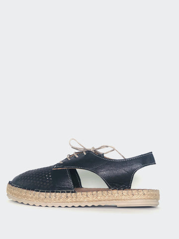 Raysh - Black Leather Lace-Up Espadrille By Mago