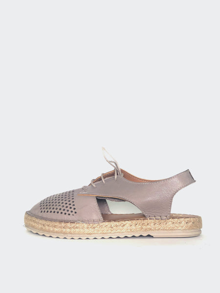 Raysh - Taupe Leather Lace-Up Espadrille By Mago