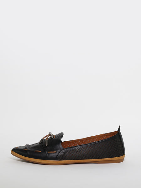 Whip - Black Leather Comfort Flats by Mago