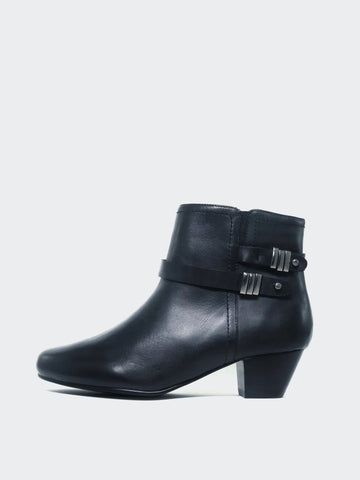 Alicia - Black Leather Ankle Boot by MG Footwear
