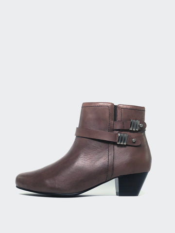 Alicia -Brown Leather Ankle Boot by MG Footwear