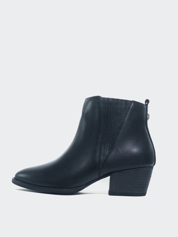 Arrive - Full Leather Black Ankle Boot By MG Footwear