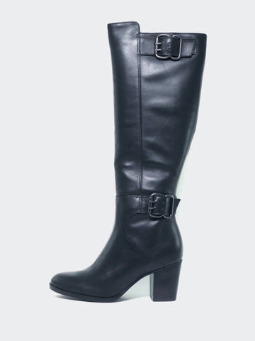 Butter - Black Knee High Heeled Boot by MG Footwear