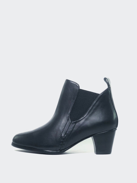 Cape - Black Heeled Ankle Boot by MG Footwear