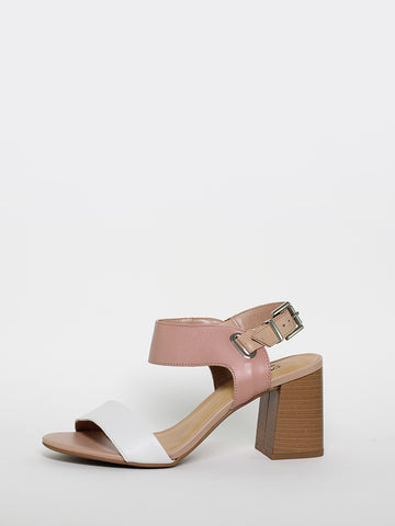 Loops ladies block heel sandals in rose, tan and white