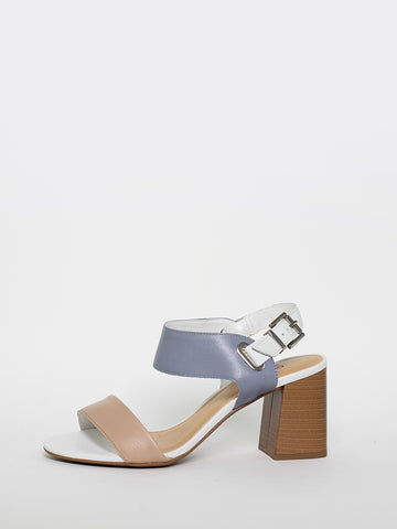 Loops - Blue, Tan and White Block Heel Sandal by MG