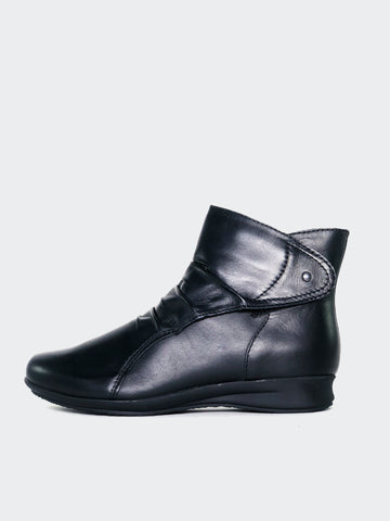 Olinda - Black Leather Ankle Boot By MG Footwear