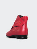 Olinda - Red Leather Ankle Boot By MG Footwear