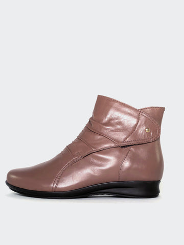 Olinda - Taupe Leather Ankle Boot By MG Footwear