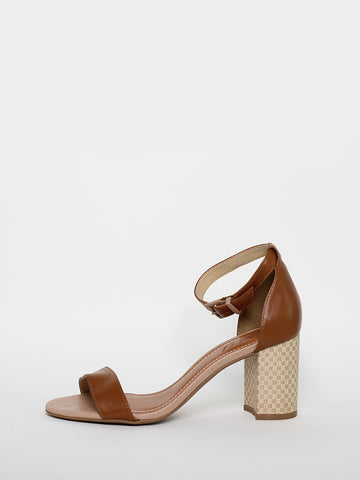 Posts - Ladies Tan Block Heel Shoe by MG Shoes