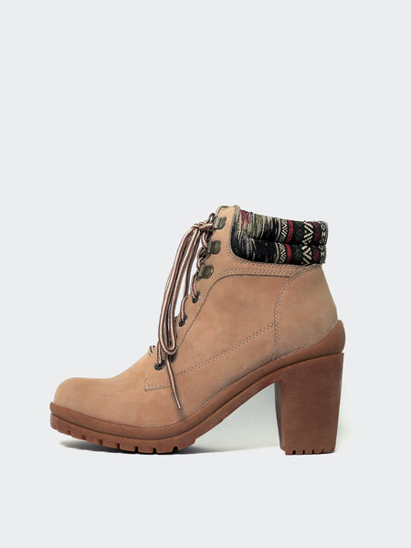 Anita Beige Lace-Up Ankle Boot by No! Shoes