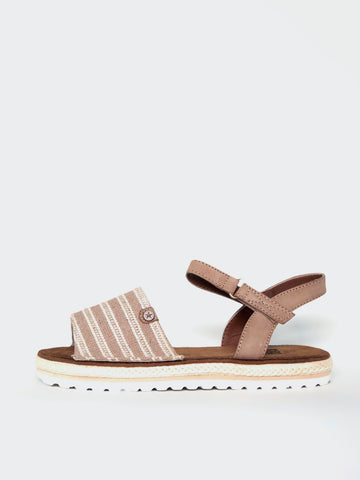 Barber - Beige Espadrille Flat Sandal by No Shoes