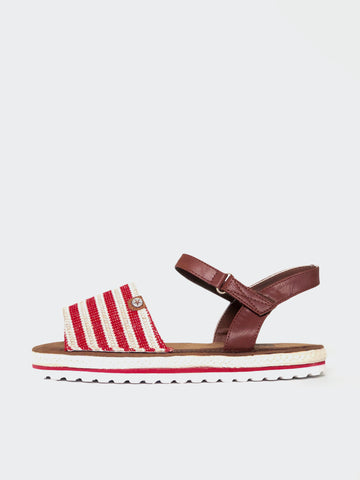 Barber - Red Espadrille Flat Sandal by No Shoes
