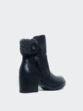 Lamb - Black Winter Boot With Block Heel By No! Shoes