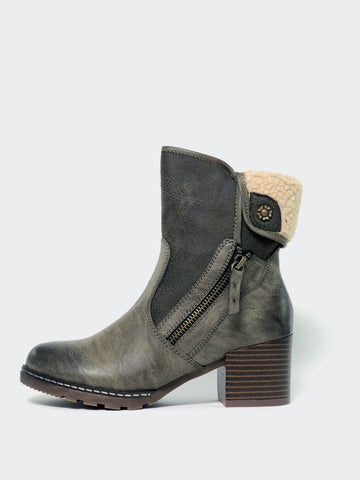 Lamb - Army Green Winter Boot With Block Heel By No! Shoes